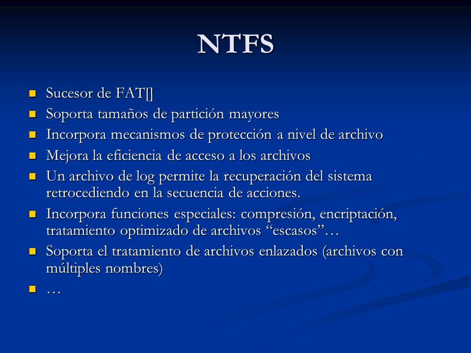 NTFS Sucesor de FAT[] Soporta tamaños de partición mayores